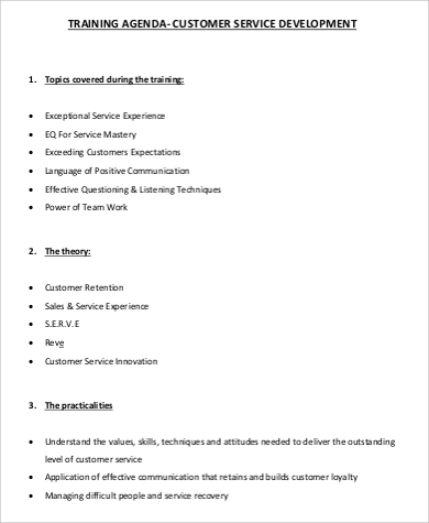 customer service training agenda