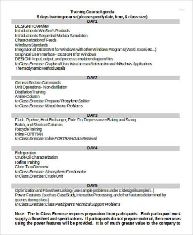 training course agenda in word