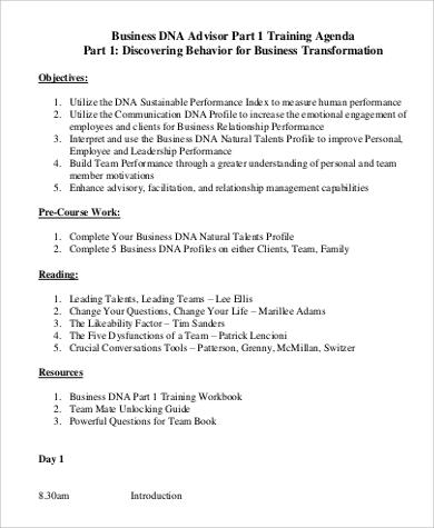 business training agenda sample