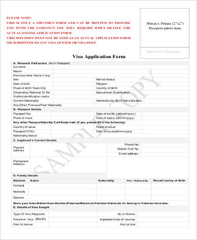 general visa application form