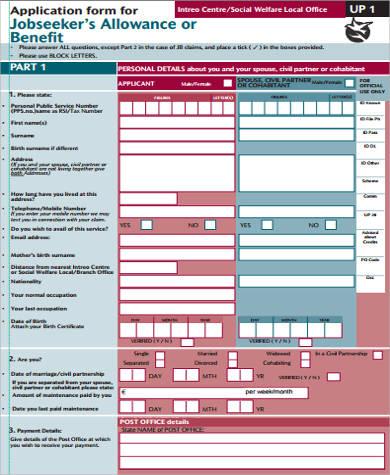 job benefit application form
