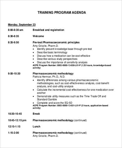 training program agenda to download