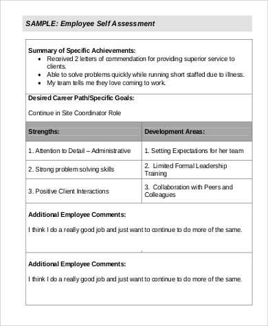 Employee SelfAssessment Example   Samples In Word Pdf