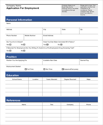 general job application form