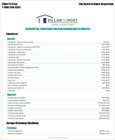 Roofing Estimate Sample 7 Examples In Word Pdf