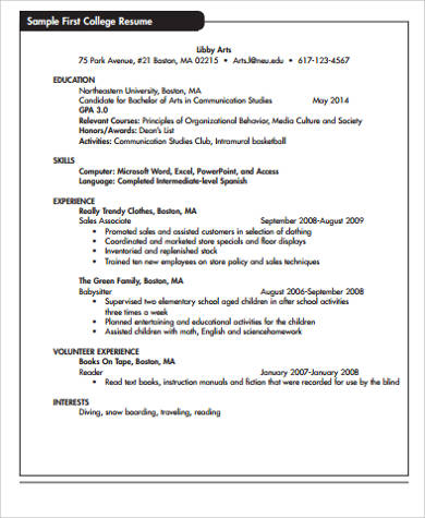 first college resume example
