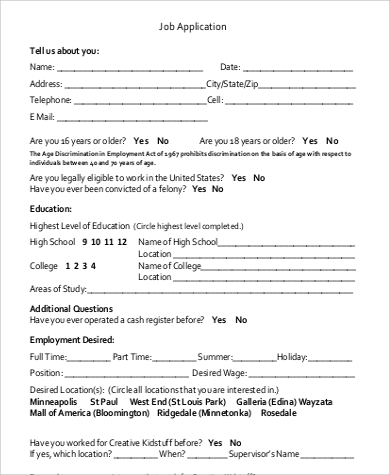 Basic Employment Application Sample Basic Job Application Form
