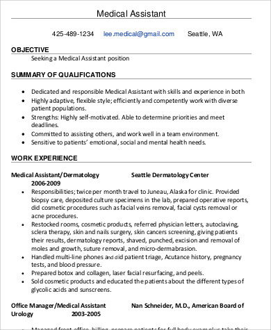 experienced medical assistant resume
