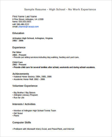 resume no work experience example