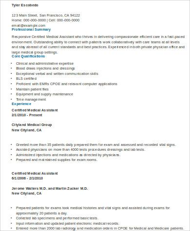 sample certified medical assistant resume