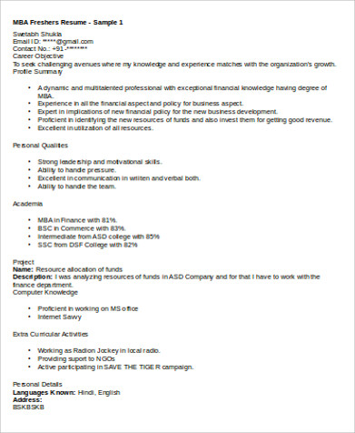best resume templates for freshers 6 sample mba marketing resumes sample templates 11344