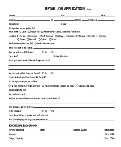 Basic-Retail-Job-Application Sample How To Write The Application Form on letter pdf, for employment,