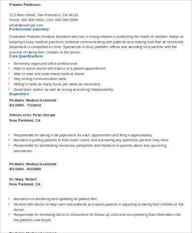 Medical Assistant Resume Sample - 8+ Examples in Word, PDF