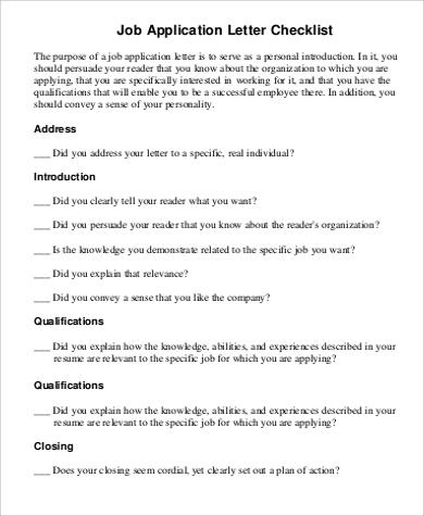 basic job application letter checklist in pdf