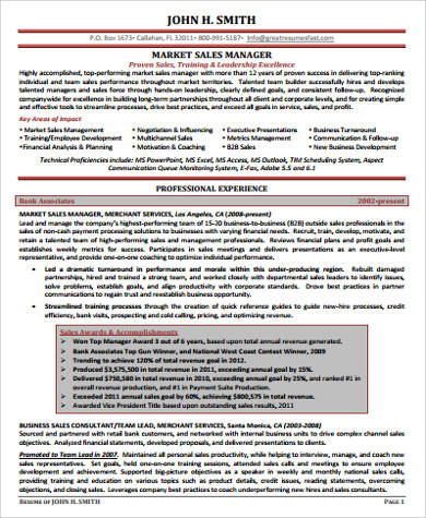 sample sales and marketing resume