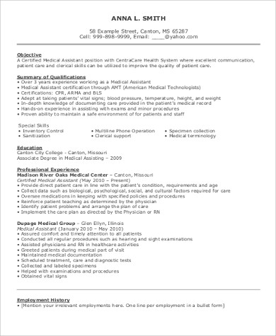 medical assistant job summary resume