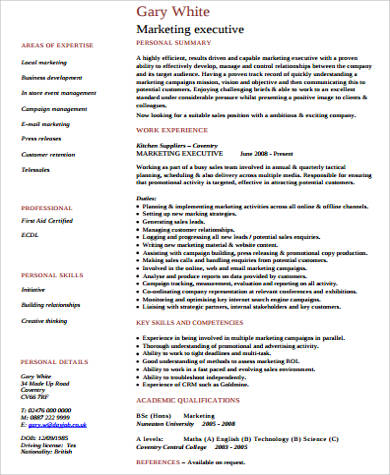 marketing executive resume pdf