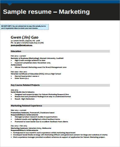 marketing resume example