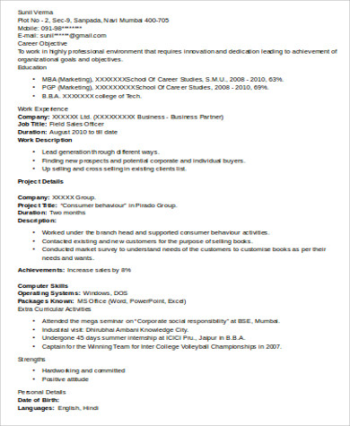 sample mba marketing resume 6 examples in word pdf