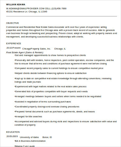 Sample Real Estate Agent Resume   Examples In Word Pdf