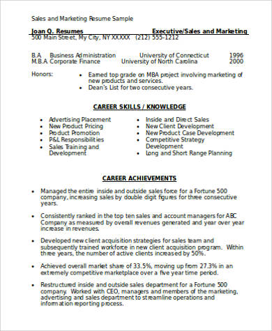marketing resume in word