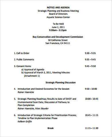 9+ Sample Business Meeting Agenda - Free Sample, Example, Format ...