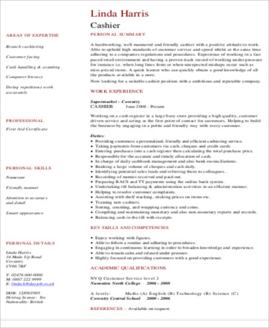 Cashier Resume Sample   Examples In Word Pdf