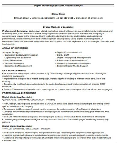 sample digital marketing resume 8 examples in word pdf