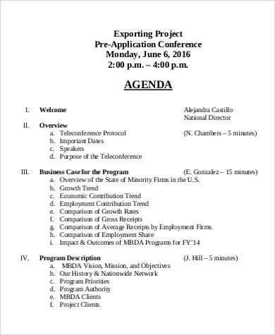 post application conference agenda example
