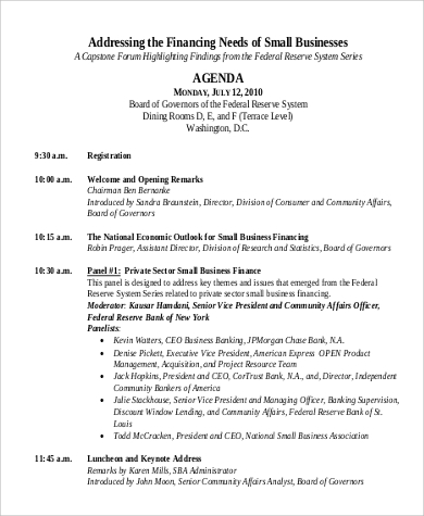 sample agenda for business conference