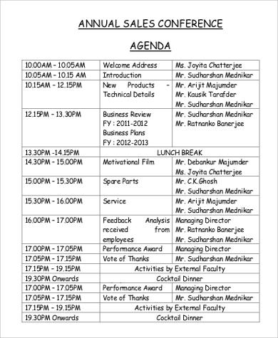 sample agenda for sales conference
