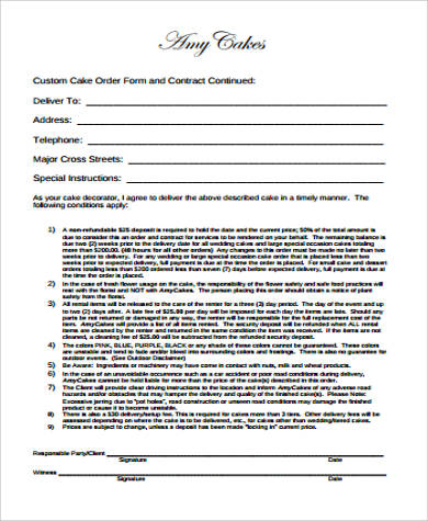 Cake Order Form Sample   Examples In Word Pdf