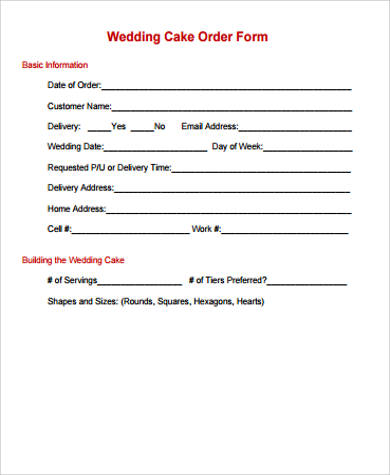 wedding cake order form template 7 cake order form samples sample templates 23353