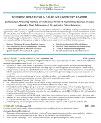 manager sales and marketing resume