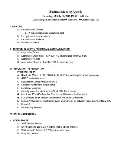 sample business meeting agenda format
