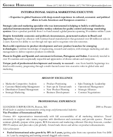 sales and marketing executive resume
