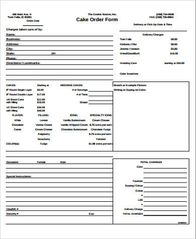 7+ Cake Order Form Sample - 7+ Examples In Word, Pdf