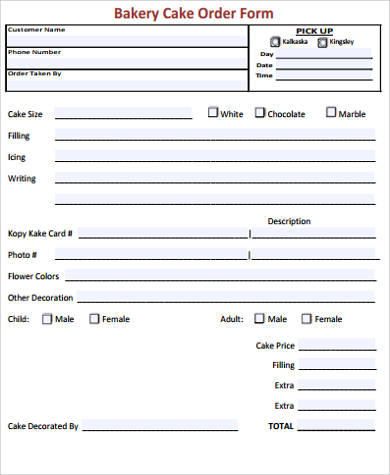 american express card 18 year old  9+ Cake Order Form Sample - 9+ Examples in Word, PDF