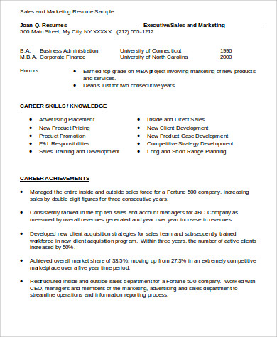 Sample Sales And Marketing Resume - 7+ Examples In Word, Pdf