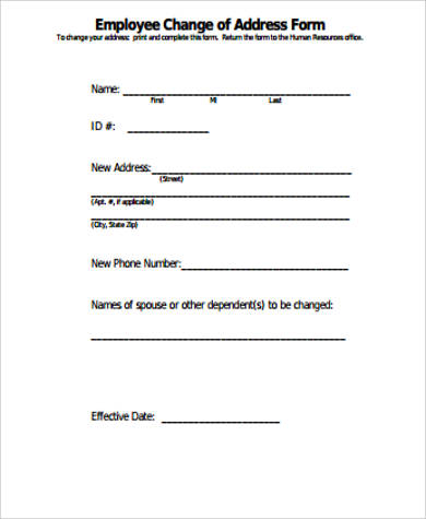 Sample Employee Change Form - 11+ Examples in Word, PDF