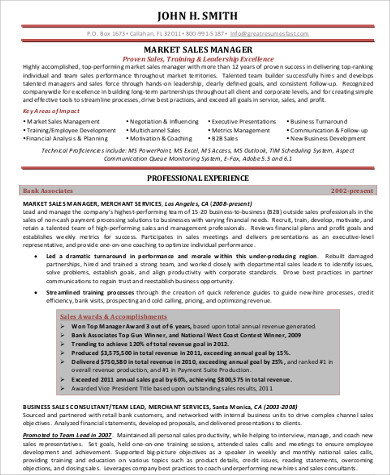 professional sales and marketing resume example