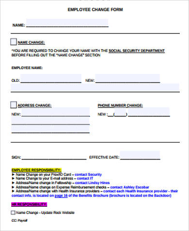 Sample Employee Change Form   Examples In Word Pdf