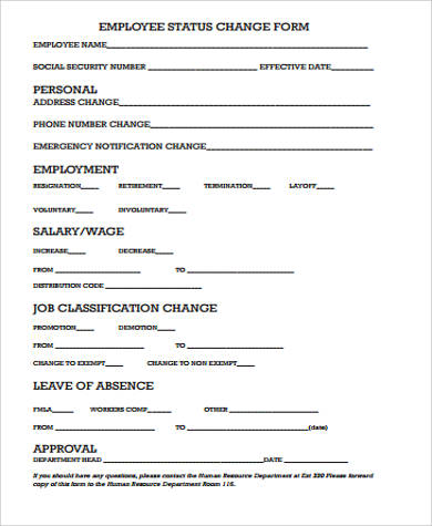 11 sample employee change forms sample templates. Black Bedroom Furniture Sets. Home Design Ideas