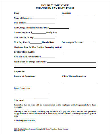 employee change in payrate form