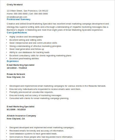 marketing specialist resume