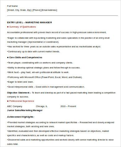entry level marketing resume pdf