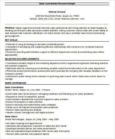 sales coordinator resume samples