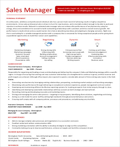 corporate sales resume format
