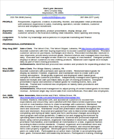 sales associate resume in word