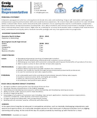 sales representative resume1